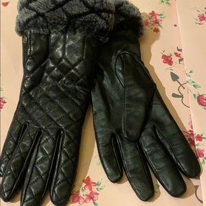 Ugg leather gloves new real fur trim